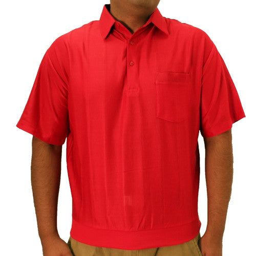 LD Sport Tone on Tone Textured Knit Short Sleeve Banded Bottom Shirt 6010-16 Red - bandedbottom