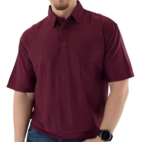 LD Sport Short Sleeve Tone on Tone Textured Knit Banded Bottom Shirt 6010-16 Burgundy - bandedbottom