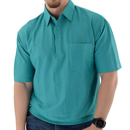 Big and Tall Tone on Tone Textured Knit Short Sleeve Banded Bottom Shirt - 6010-16BT Jade - bandedbottom