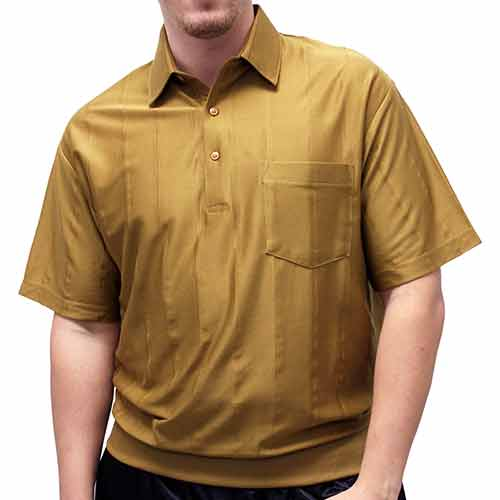 LD Sport Tone on Tone Textured Knit Short Sleeve Banded Bottom Shirt 6010-16 Mocha - theflagshirt