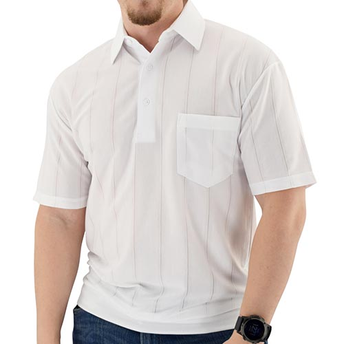 Big and Tall Tone on Tone Textured Knit Short Sleeve Banded Bottom Shirt - 6010-16BT - White - bandedbottom