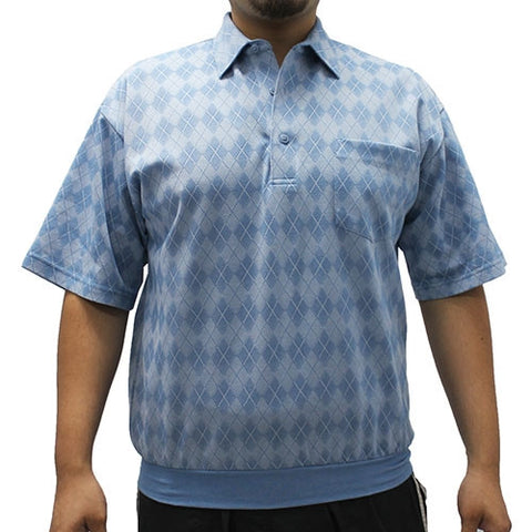 LD Sport Jacquard Short Sleeve Banded Bottom Shirt 6010-201 Blue - bandedbottom