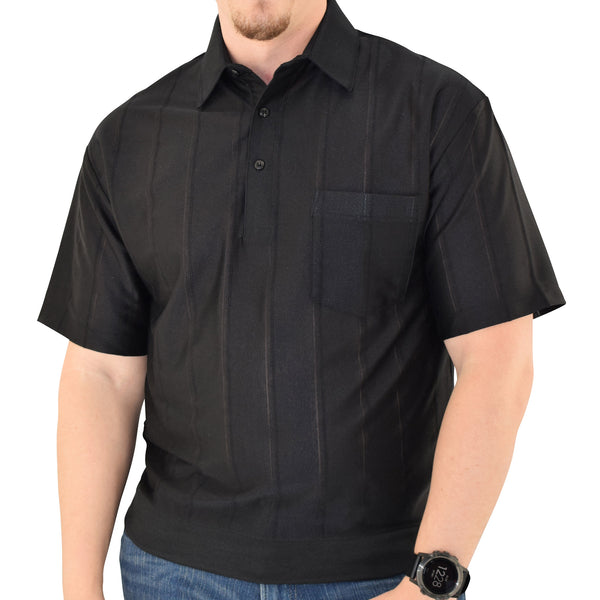 Big and Tall Tone on Tone Textured Knit Short Sleeve Banded Bottom Shirt - 6010-16BT-Black - bandedbottom