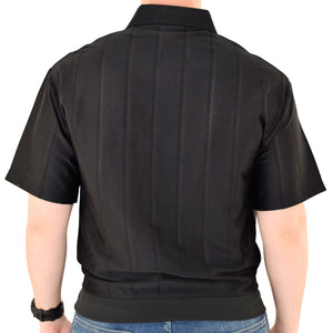 Big and Tall Tone on Tone Textured Knit Short Sleeve Banded Bottom Shirt - 6010-16BT-Black - theflagshirt