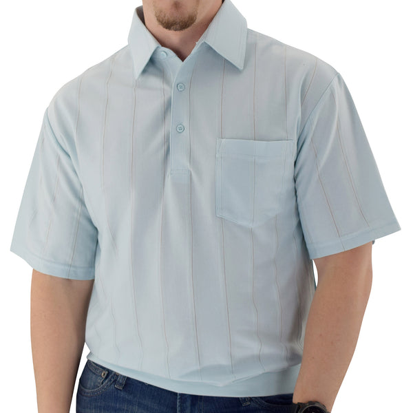Big and Tall Tone on Tone Textured Knit Short Sleeve Banded Bottom Shirt - 6010-16BT - Light Blue - theflagshirt
