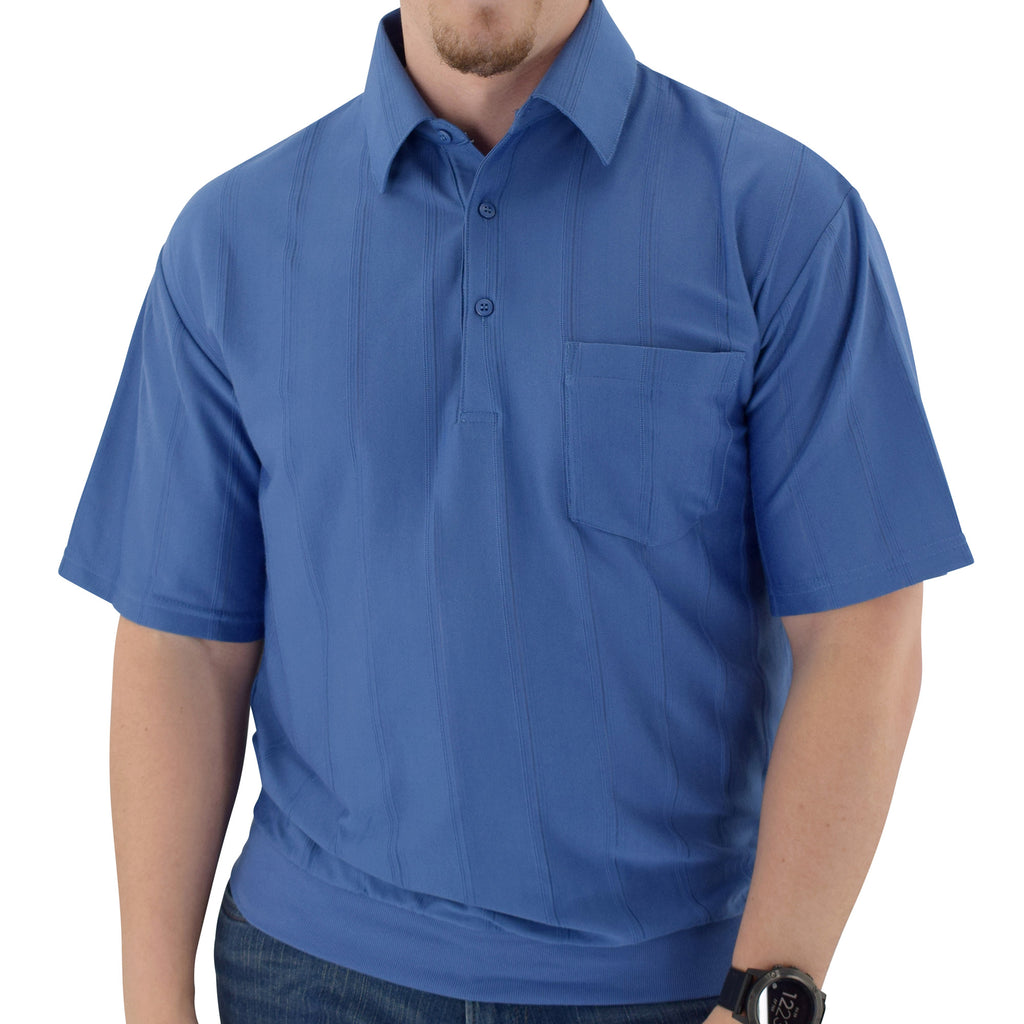 Big and Tall Tone on Tone Textured Knit Short Sleeve Banded Bottom Shirt - 6010-16BT-Ocean - bandedbottom