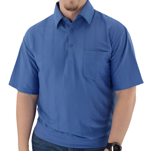 Big and Tall Tone on Tone Textured Knit Short Sleeve Banded Bottom Shirt - 6010-16BT-Ocean - theflagshirt