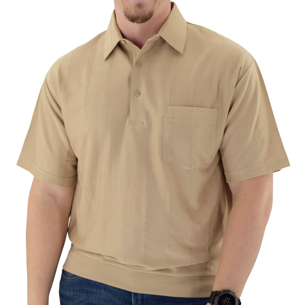 Big and Tall Tone on Tone Textured Knit Short Sleeve Banded Bottom Shirt - 6010-16BT - Taupe - bandedbottom