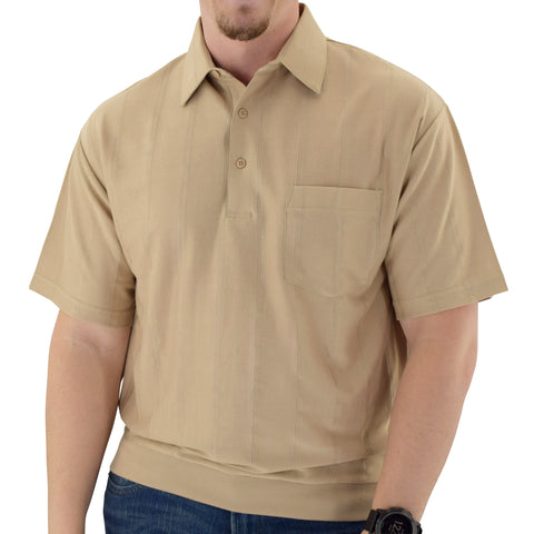 Big and Tall Tone on Tone Textured Knit Short Sleeve Banded Bottom Shirt - 6010-16BT - Taupe - theflagshirt