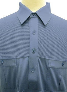 6010-51- Marine Big and Tall Banded Bottom Shirt - theflagshirt