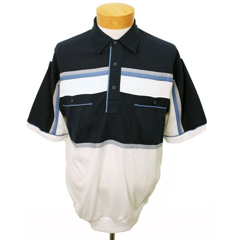 Classics By Palmland Knit Short Sleeve Banded Bottom Shirt 6010-643 Navy - theflagshirt