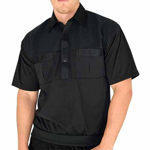Classics by Palmland Two Pocket Knit Short Sleeve Banded Bottom Shirt 6010-656 Black - bandedbottom