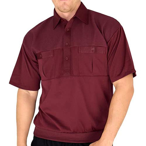 Classics by Palmland Two Pocket Short Sleeve Knit Banded Bottom Shirt 6010-656 Burgundy - bandedbottom