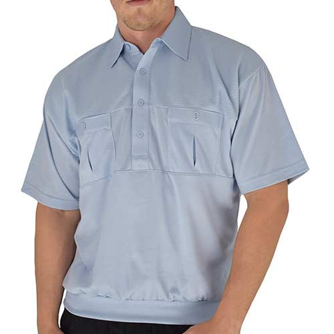 Classics by Palmland Two Pocket Knit Short Sleeve Banded Bottom Shirt 6010-656 Light Blue - theflagshirt