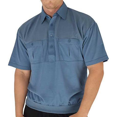 Classics by Palmland Two Pocket Knit Short Sleeve Banded Bottom Shirt 6010-656 Marine - theflagshirt