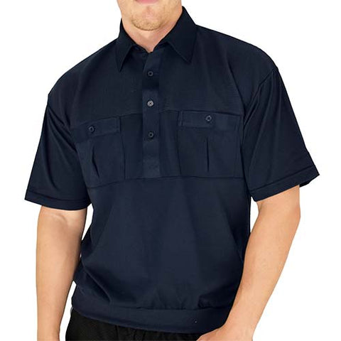 Classics by Palmland Two Pocket Knit Short Sleeve Banded Bottom Shirt 6010-656 Navy - bandedbottom