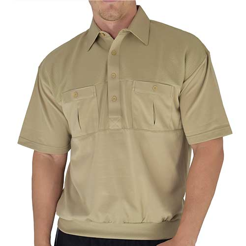 Classics by Palmland Two Pocket Knit Short Sleeve Banded Bottom Shirt  6010-656 Taupe - theflagshirt