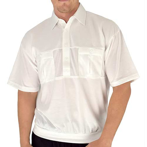 Classics by Palmland Two Pocket Knit Short Sleeve Banded Bottom Shirt 6010-656 White - theflagshirt