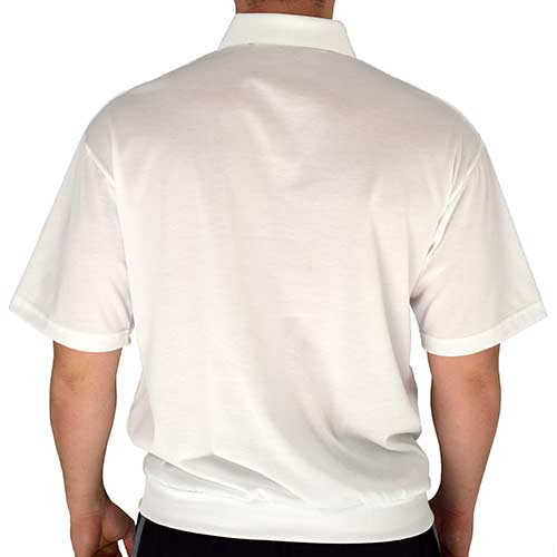 Classics by Palmland Big and Tall Short Sleeve Banded Bottom Shirt 6010-656BT White - theflagshirt