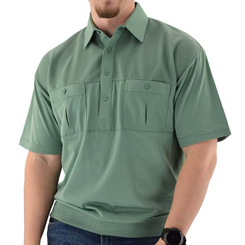 Classics by Palmland Two Pocket Knit Short Sleeve Banded Bottom Shirt 6010-656 Sage - bandedbottom