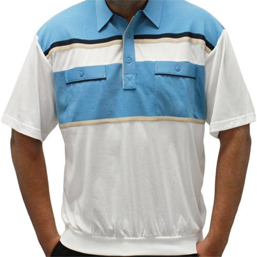 Classics By Palmland Knit Short Sleeve Banded Bottom Shirt 6010-660 Blue - theflagshirt