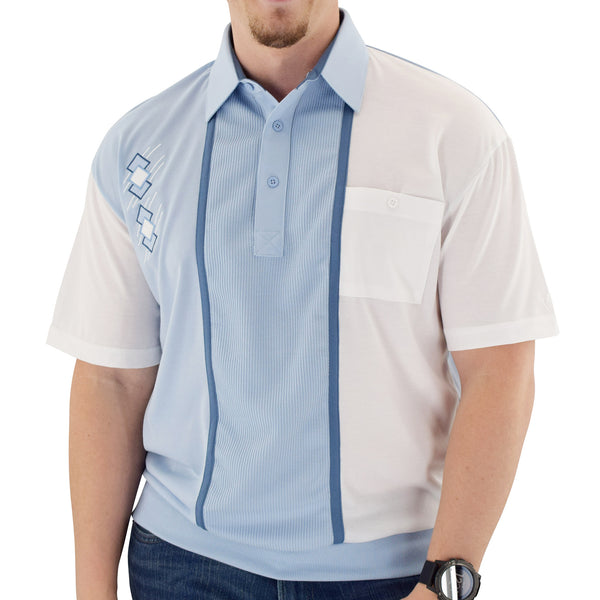 Classics By Palmland Knit Short Sleeve Banded Bottom Shirt with embroidery 6010-672 LT Blue - theflagshirt