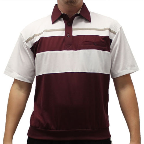 Classics By Palmland Knit Short Sleeve Banded Bottom Shirt 6010-674 Burgundy - theflagshirt