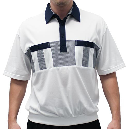 Classics By Palmland Knit Short Sleeve Banded Bottom Shirt 6010-691 Navy - theflagshirt