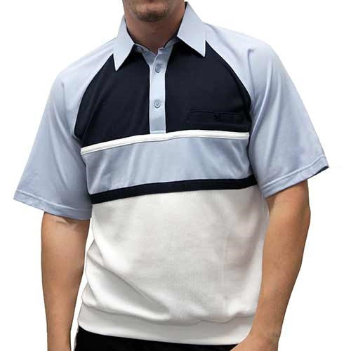 Classics By Palmland Knit Short Sleeve Banded Bottom Shirt 6010-694 Light Blue - theflagshirt