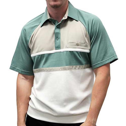 Classics By Palmland Knit Short Sleeve Banded Bottom Shirt 6010-694 Sage - theflagshirt