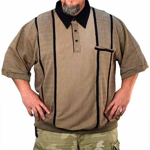 Classics by Palmland Safe Harbor Short Sleeve Banded Bottom Shirt 6010-711BT -Khaki - theflagshirt