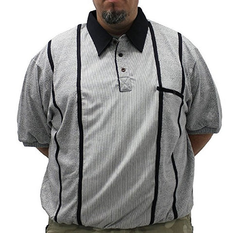 Classics by Palmland Safe Harbor Short Sleeve Banded Bottom Shirt 6010-711BT - Grey - theflagshirt