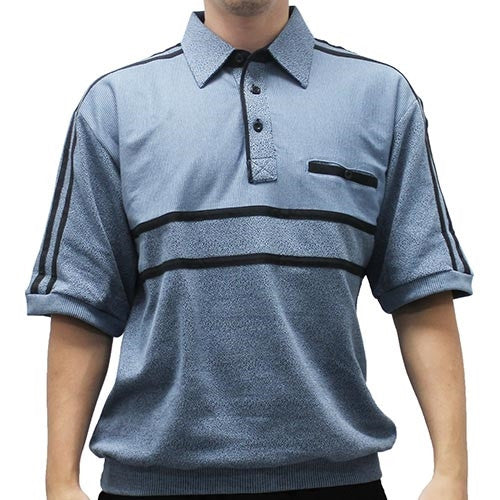 Classics by Palmland French Terry Short Sleeve Banded Bottom Shirt - 6010-972B Blue - theflagshirt