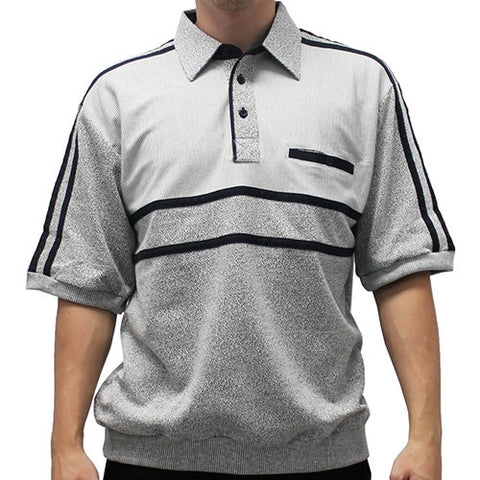 Classics by Palmland French Terry Short Sleeve Banded Bottom Shirt - 6010-972B Grey - theflagshirt
