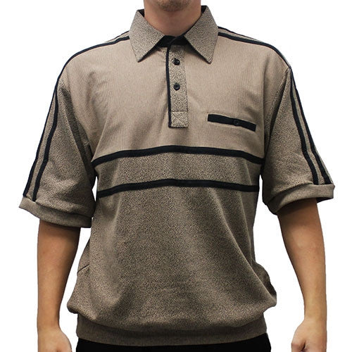 Classics by Palmland French Terry Short Sleeve Banded Bottom Shirt - 6010-972B Khaki - theflagshirt
