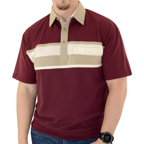 Classics by Palmland Horizontal Short Sleeve Banded Bottom Shirt Burgundy  - 6010-BL12 - theflagshirt