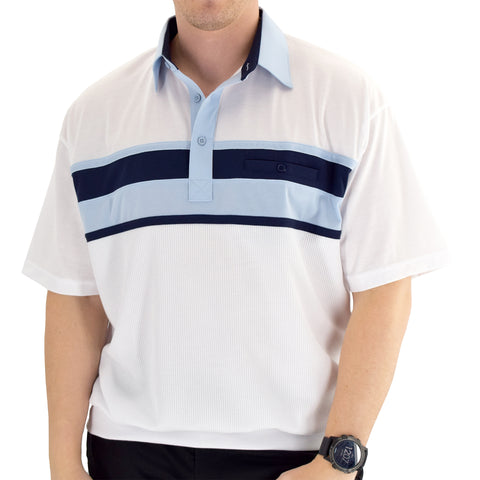 Classics by Palmland Horizontal Short Sleeve Banded Bottom Shirt Light Blue - 6010-BL12 - theflagshirt