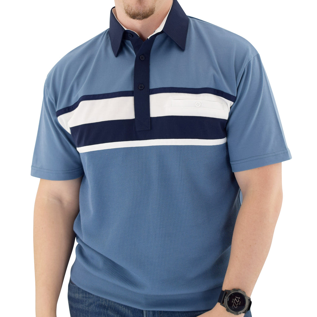 Classics by Palmland Horizontal Short Sleeve Banded Bottom Shirt Big and Tall Marine 6010-BL12 - theflagshirt