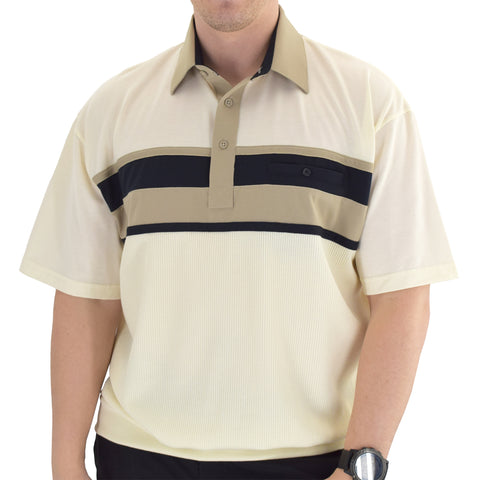 Classics by Palmland Horizontal Short Sleeve Banded Bottom Shirt Natural - 6010-BL12 - theflagshirt
