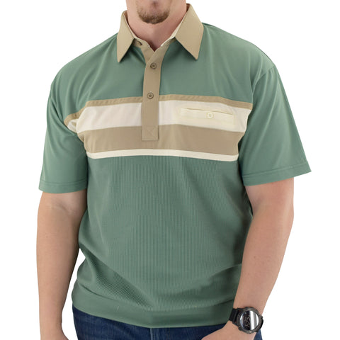 Classics by Palmland Horizontal Short Sleeve Banded Bottom Shirt Sage - 6010-BL12 - theflagshirt