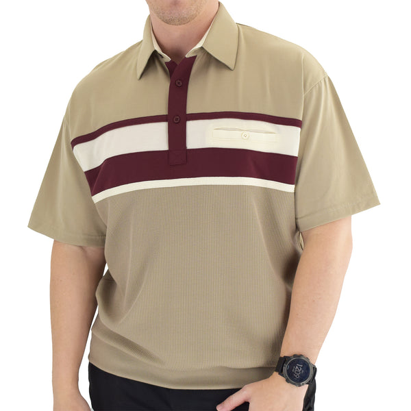 Classics by Palmland Horizontal Short Sleeve Banded Bottom Shirt Taupe - 6010-BL12 - theflagshirt