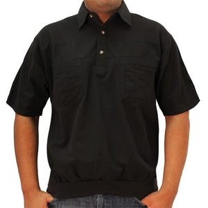 LD Sport 4 Pocket Woven Short Sleeve Banded Bottom Shirt 6030-200 Black - theflagshirt