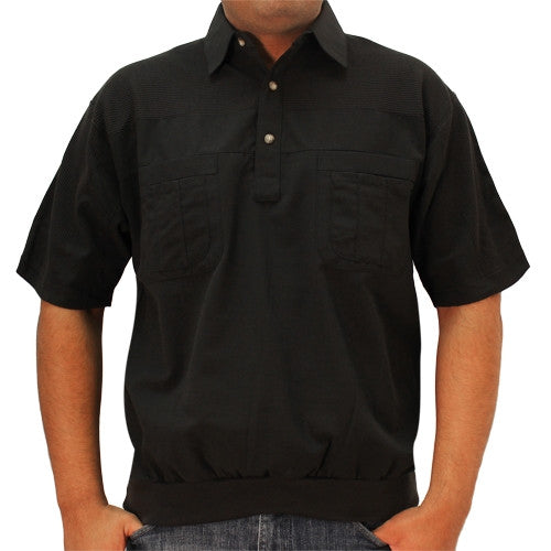 LD Sport 4 Pocket Woven Short Sleeve Banded Bottom Shirt 6030-200 Big and Tall Black - theflagshirt
