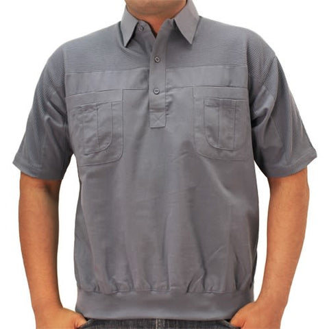 Big and Tall Palmland S/S 4 pocket Woven Banded Bottom Shirt - 6030-200BT Marine