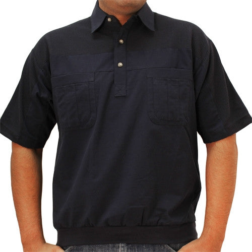 LD Sport 4 Pocket Woven Short Sleeve Banded Bottom Shirt 6030-200 Navy - theflagshirt