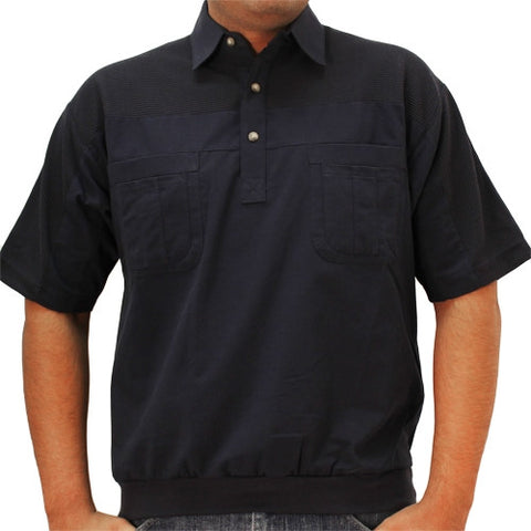 LD Sport 4 Pocket Woven Short Sleeve Banded Bottom Shirt 6030-200 Navy - bandedbottom