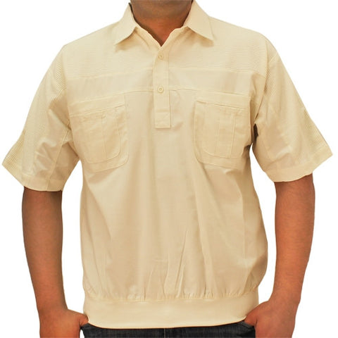 LD Sport 4 Pocket Woven Short Sleeve Banded Bottom Shirt 6030-200 Natural - bandedbottom