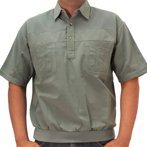 Big and Tall Palmland S/S 4 pocket Woven Banded Bottom Shirt - 6030-200BT Sage - bandedbottom
