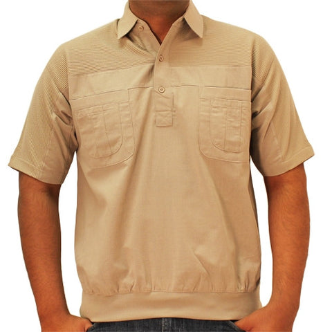 LD Sport 4 Pocket Woven Short Sleeve Banded Bottom Shirt 6030-200 Taupe - bandedbottom