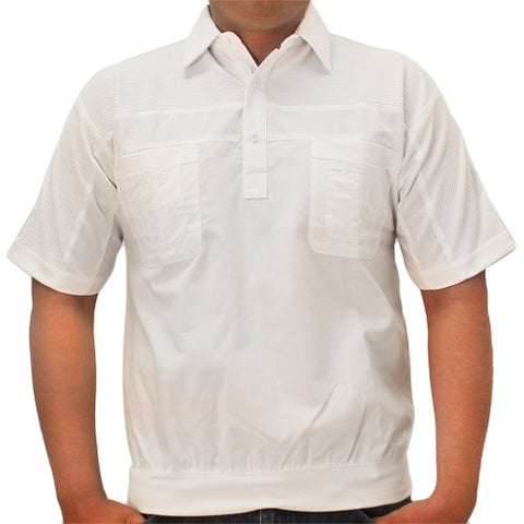 LD Sport 4 Pocket Woven Short Sleeve Banded Bottom Shirt 6030-200 White - bandedbottom